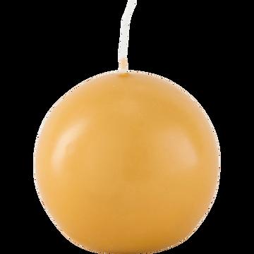 Bougie ronde beige nèfle D8cm-HALBA