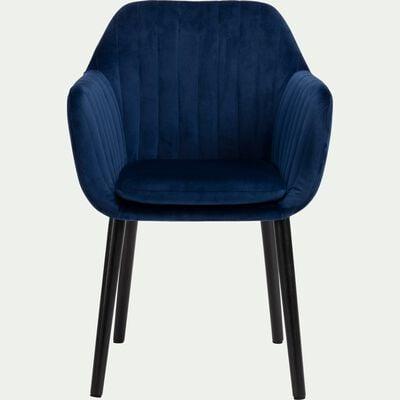 Chaise capitonnée en velours bleu figuerolles avec accoudoirs-SHELL