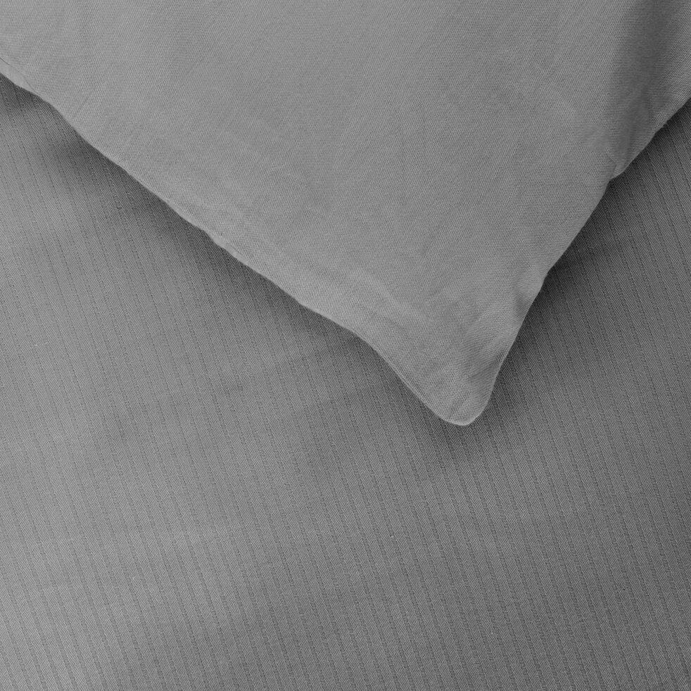Housse de couette rayée en satin de coton - gris restanque 260x240cm-SANTIS