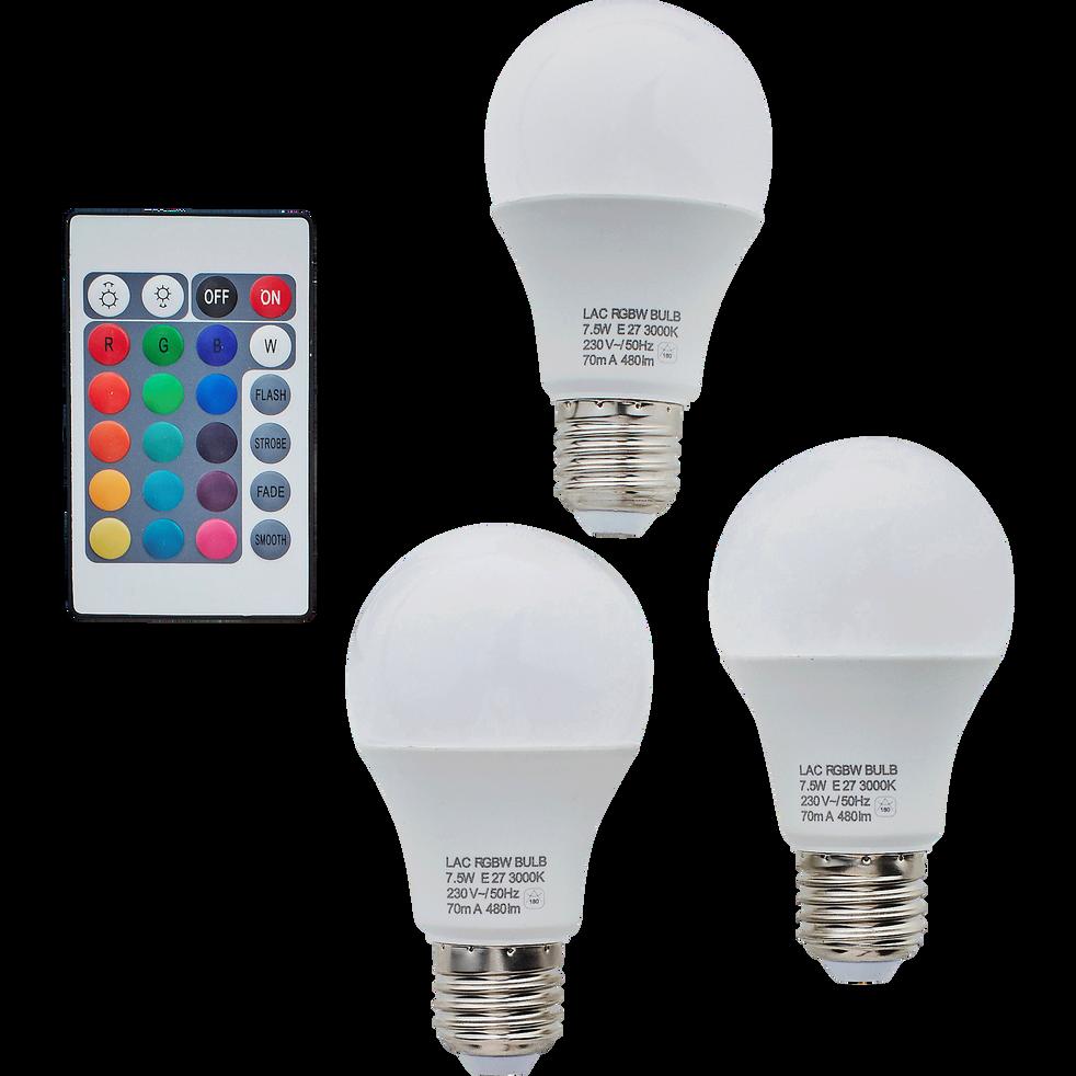 3 ampoules RGB culot E27 avec télécommande-LUXY