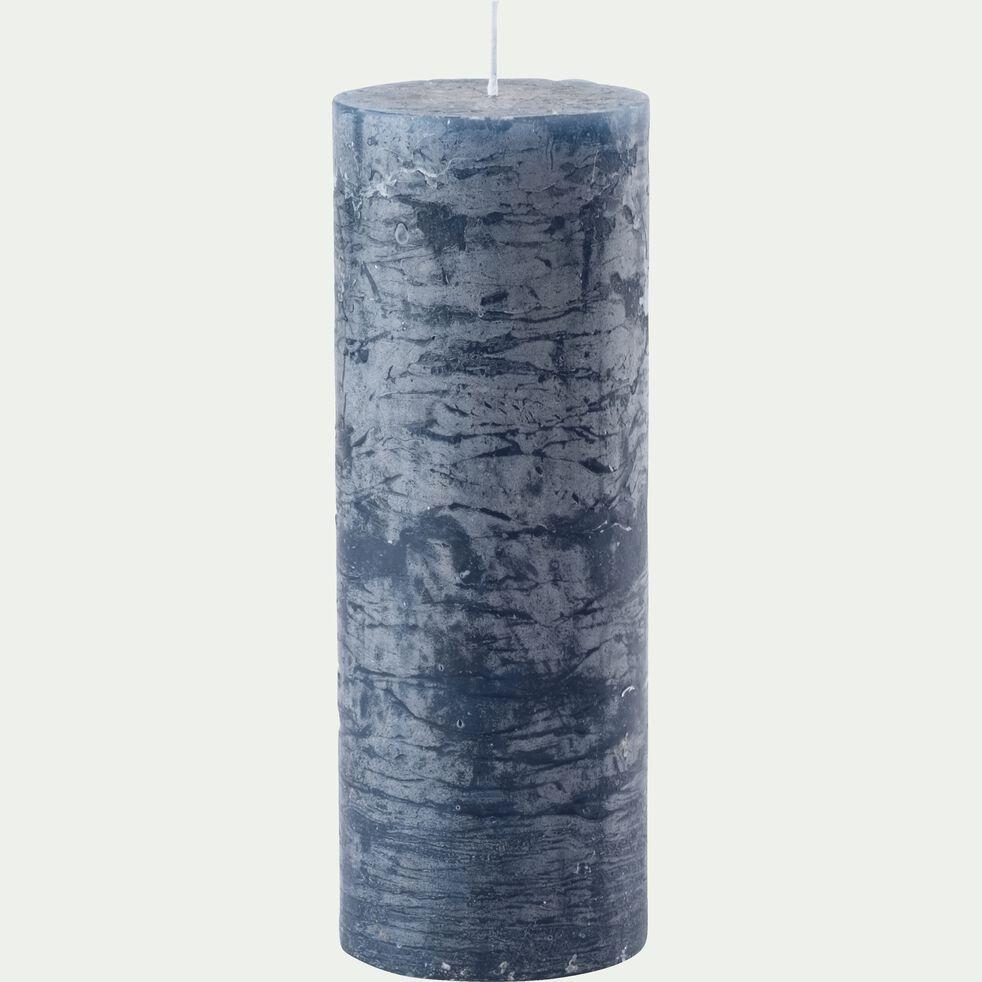 Bougie cylindrique coloris bleu myrte D7xH19 cm-BEJAIA
