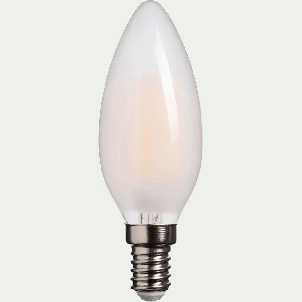 Ampoule LED verre dépoli blanc chaud D3,5cm culot E14-FLAMME