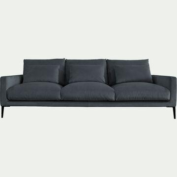 Canapé 5 places en velours - gris restanque-SOZY