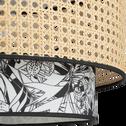 Abat-jour cannage et motif noir et blanc D40cm-INK