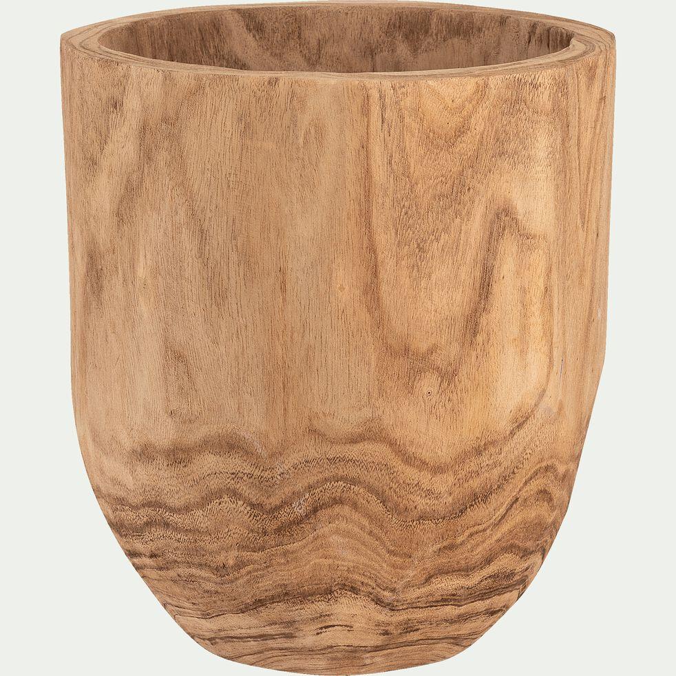 Pot décoratif en bois D34xH40 cm - naturel-ULIVIERU