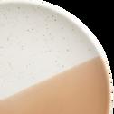 Assiette à dessert en faïence blanche et pêche D22cm-ECLAT