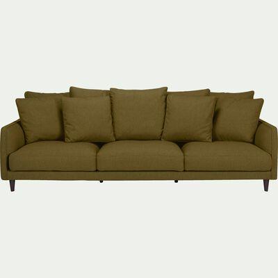Canapé 6 places fixe en tissu vert cèdre-LENITA