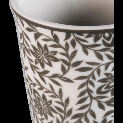 Lot de 6 tasses en porcelaine décorées vert cèdre 9cl-CAMILLE
