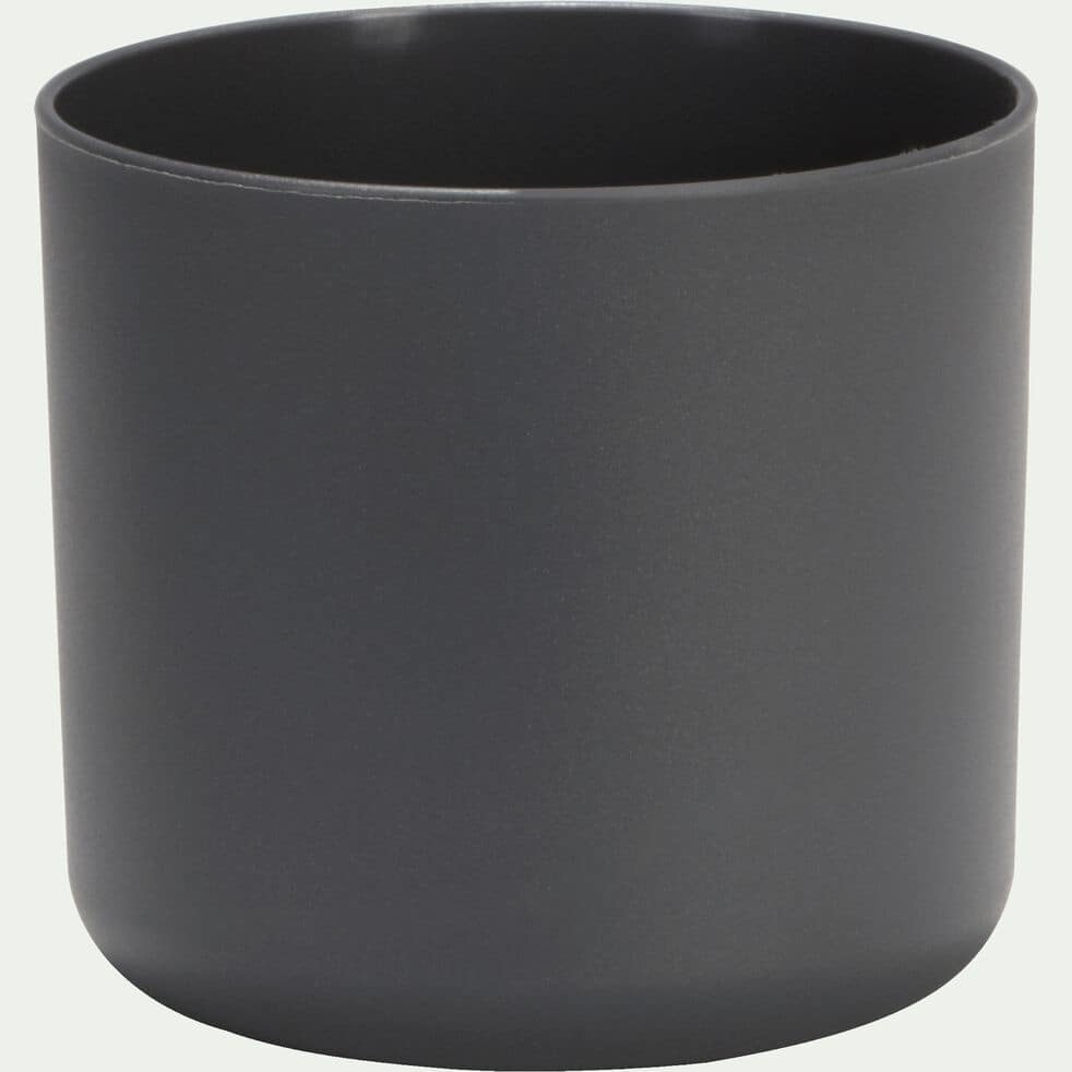 Cache-pot gris anthracite en plastique H12,5xD14cm-B FOR