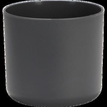 Cache-pot gris anthracite en plastique H12,5xD14cm-B FOR