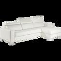 Canapé d'angle réversible convertible en cuir de buffle blanc-Mauro