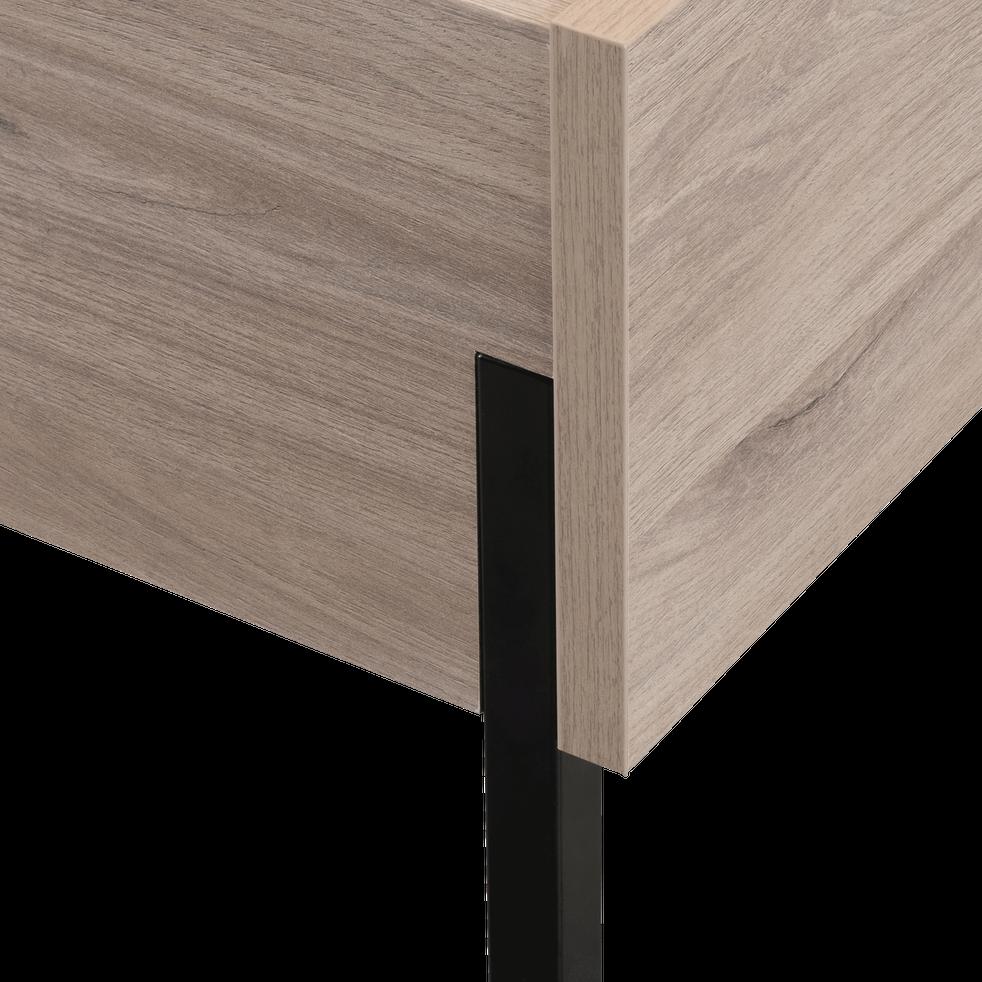 Lit 2 places finition chêne et métal - 140x200 cm-CASTEL