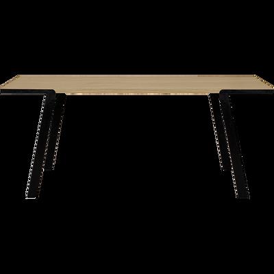 Table de repas plaquée chêne pieds métal - 6 à 8 places-DON
