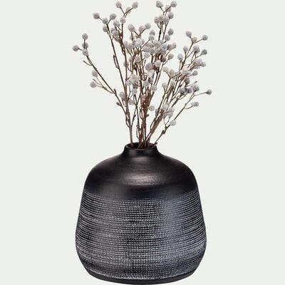 Vase en terre cuite noir H23cm-ANTIPOLO