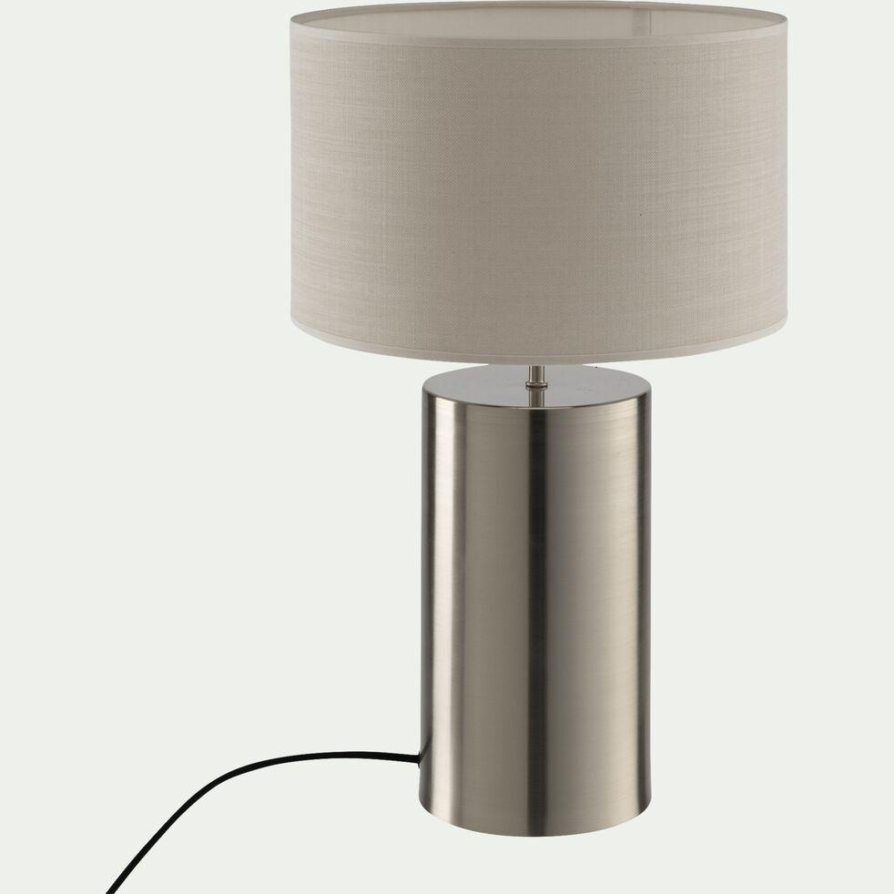 Lampe en acier argenté - beige roucas H36cm-AGATHA