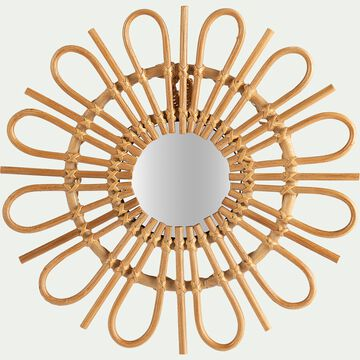 Miroir fleur en rotin D35cm-SOLEA