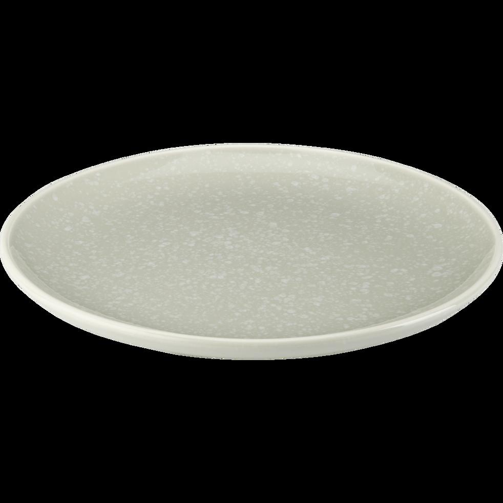 Assiette plate en faïence verte D27cm-CAMELIA