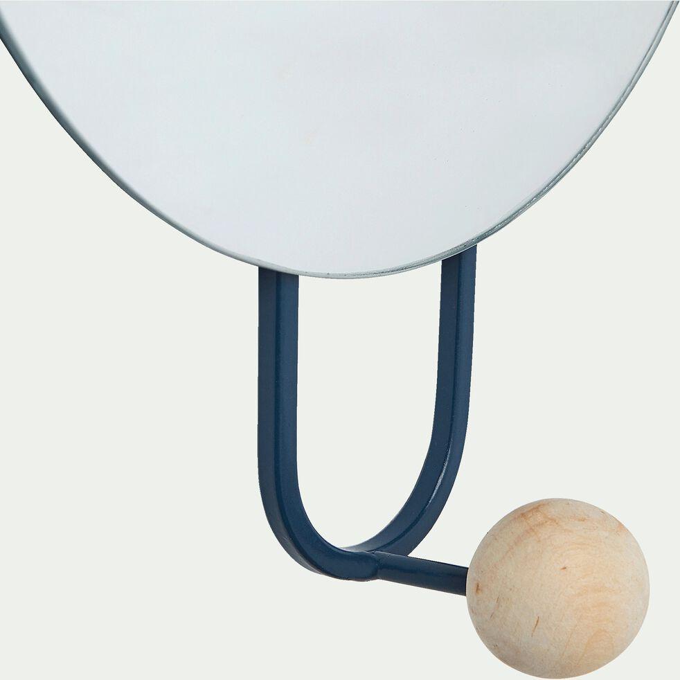 Miroir mural avec patère - bleu figuerolles D20cm-Narcisse