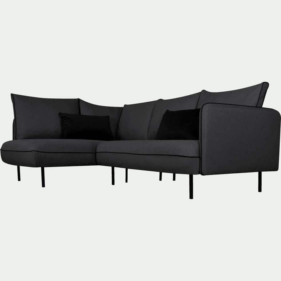 Canapé d'angle fixe gauche en tissu - gris calabrun-SAOU