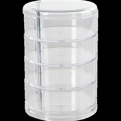 Boite de rangement transparente 4 niveaux pivotants-ICE