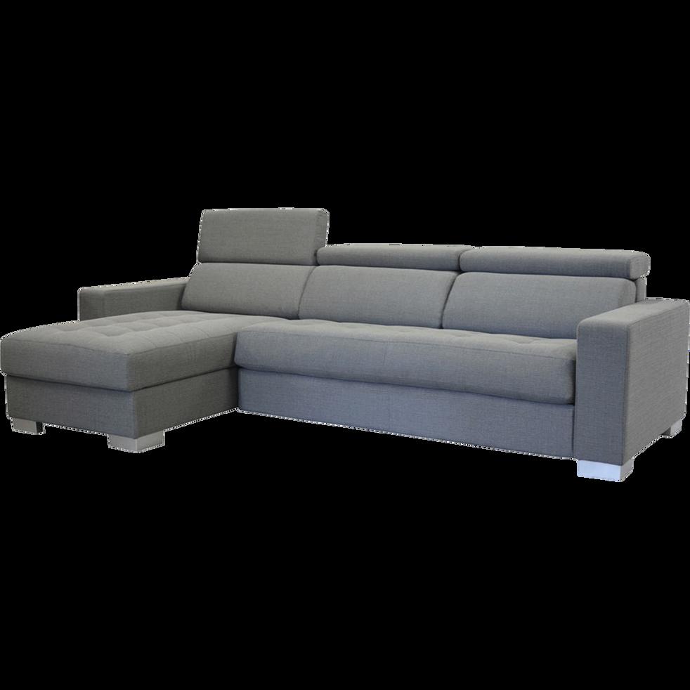 canap d 39 angle convertible r versible en tissu gris clair. Black Bedroom Furniture Sets. Home Design Ideas