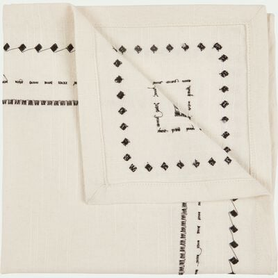 Lot de 2 serviettes de table en coton blanc et noir 41x41cm-MEDINE
