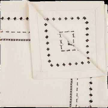 Lot de 2 serviettes de table en coton blanc et noir 41x41cm-MEDINE