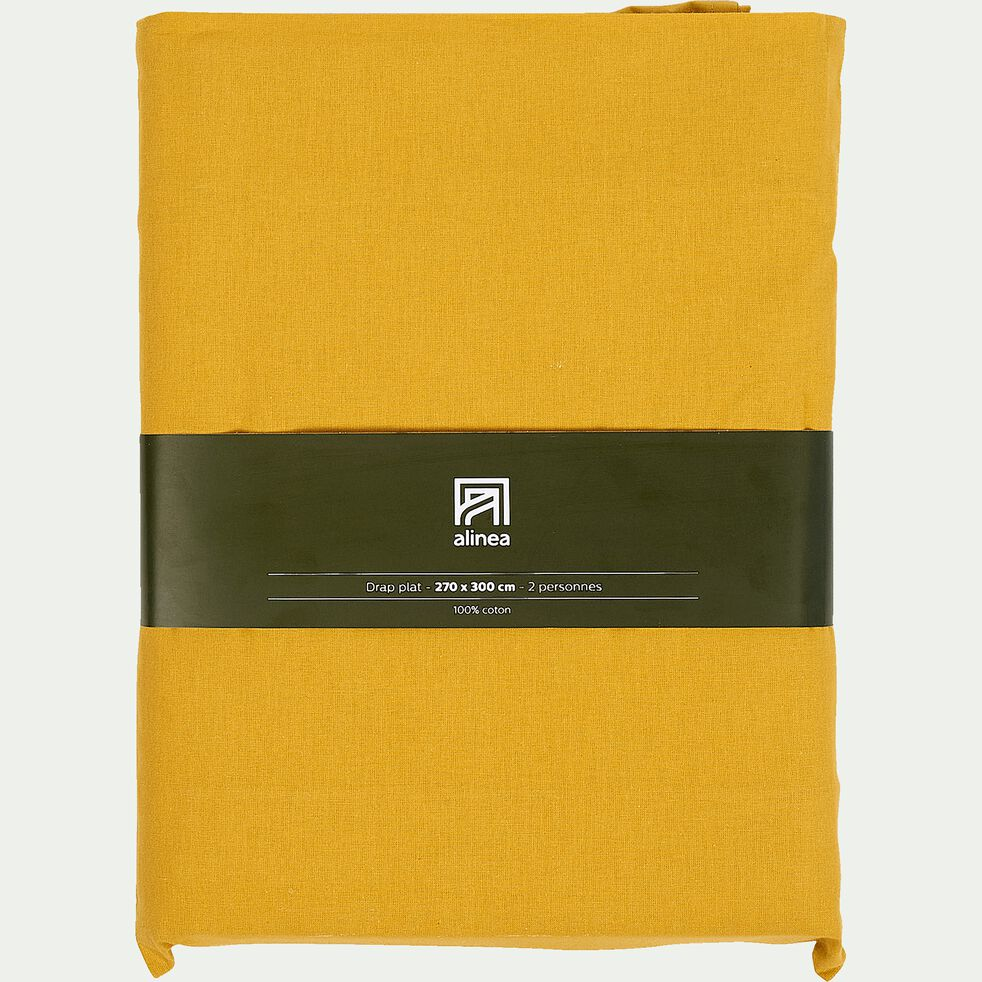 Drap plat en coton - jaune genet 270x300cm-CALANQUES