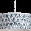 Abat-jour en tissu à motif floral bleu D40cm-AMPHORE