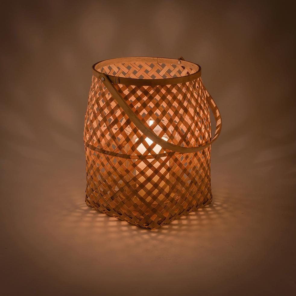 Lanterne bambou naturel D18xH23-BOHOL
