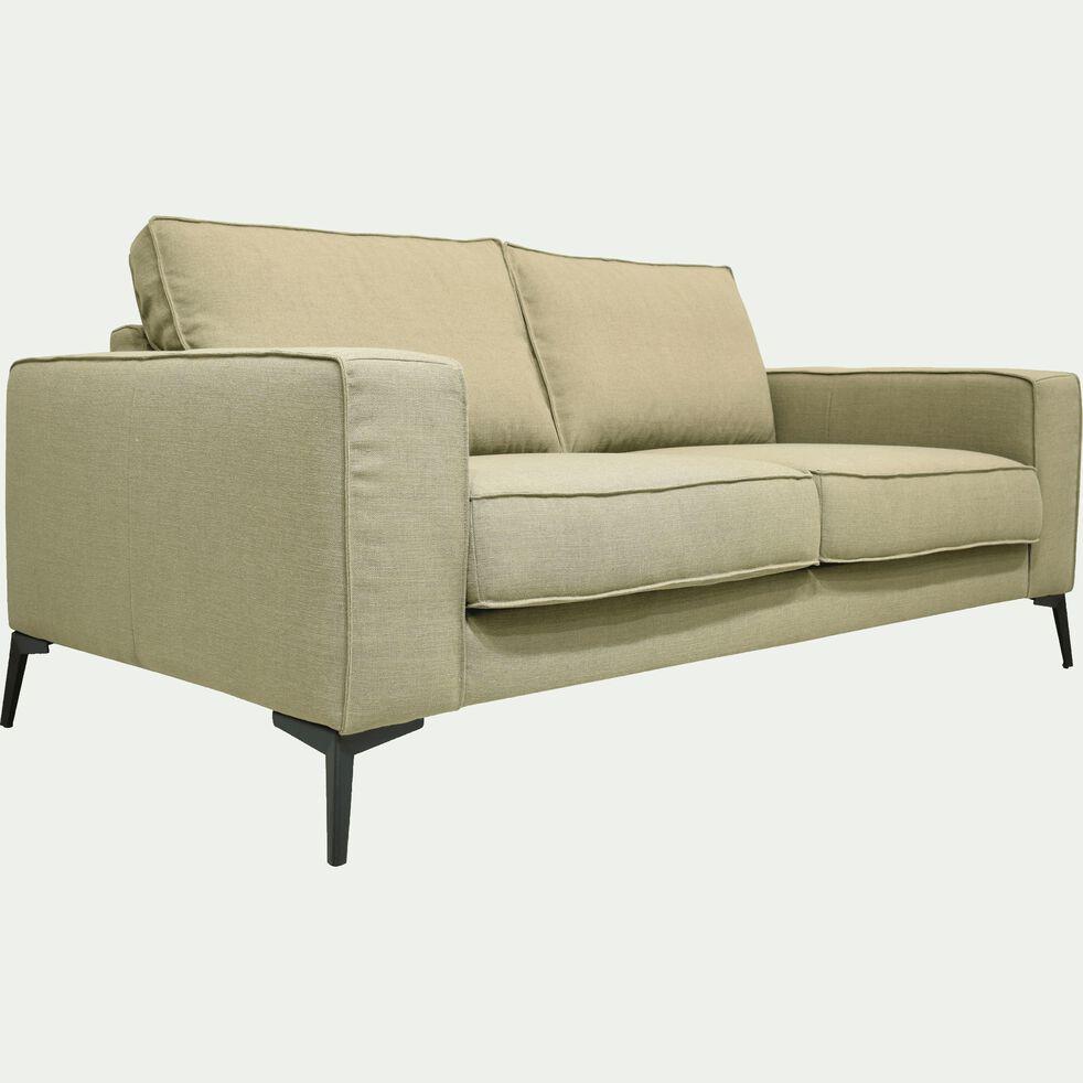 Canapé 2 places fixe en tissu vert olivier-CALIFORNIA