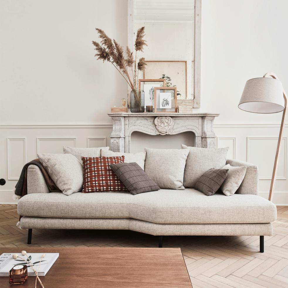 Canapé 3 places fixe droit en tissu beige roucas-TESSOUN
