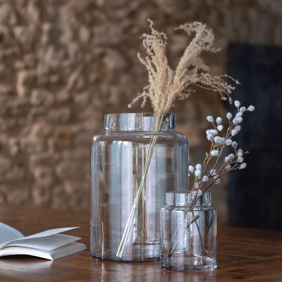 Vase en verre épais - transparent D21,5xH30,5cm-AJJA