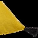 Coussin en coton jaune et pompons 45x45cm-SEN