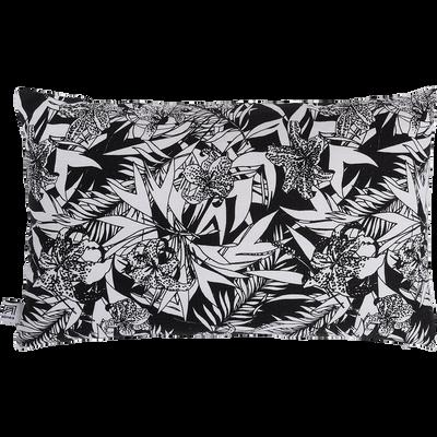 Coussin imprimé noir et blanc 30x50cm-ORCHIDEE