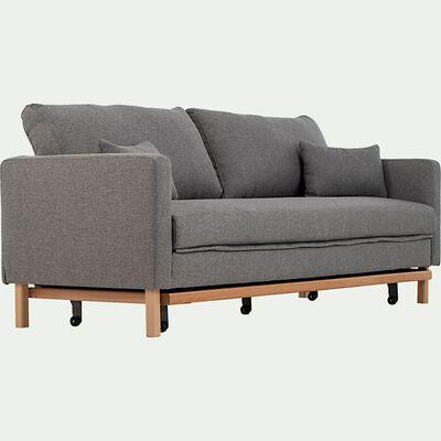 Canapé 3 places convertible en tissu - gris clair-PERTUIS