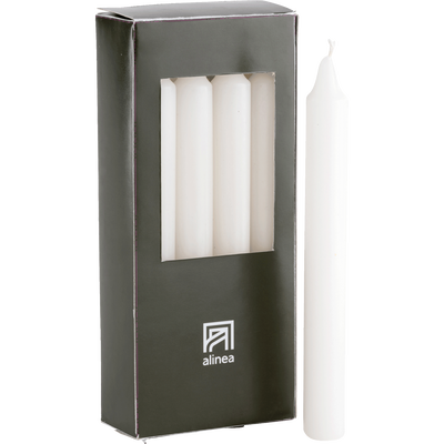 8 bougies flambeaux blanc capelan H18cm-HALBA