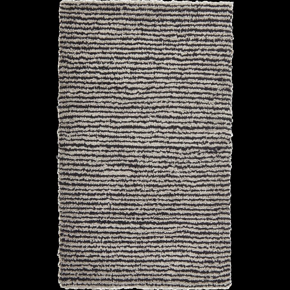 Tapis de bain 50x80cm à rayures gris-SANDY