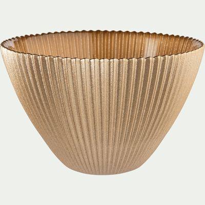 Coupelle en verre strié doré D14,5cm-SPLENDIDE