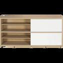 Buffet bas à portes coulissantes coloris chêne et blanc-Checker