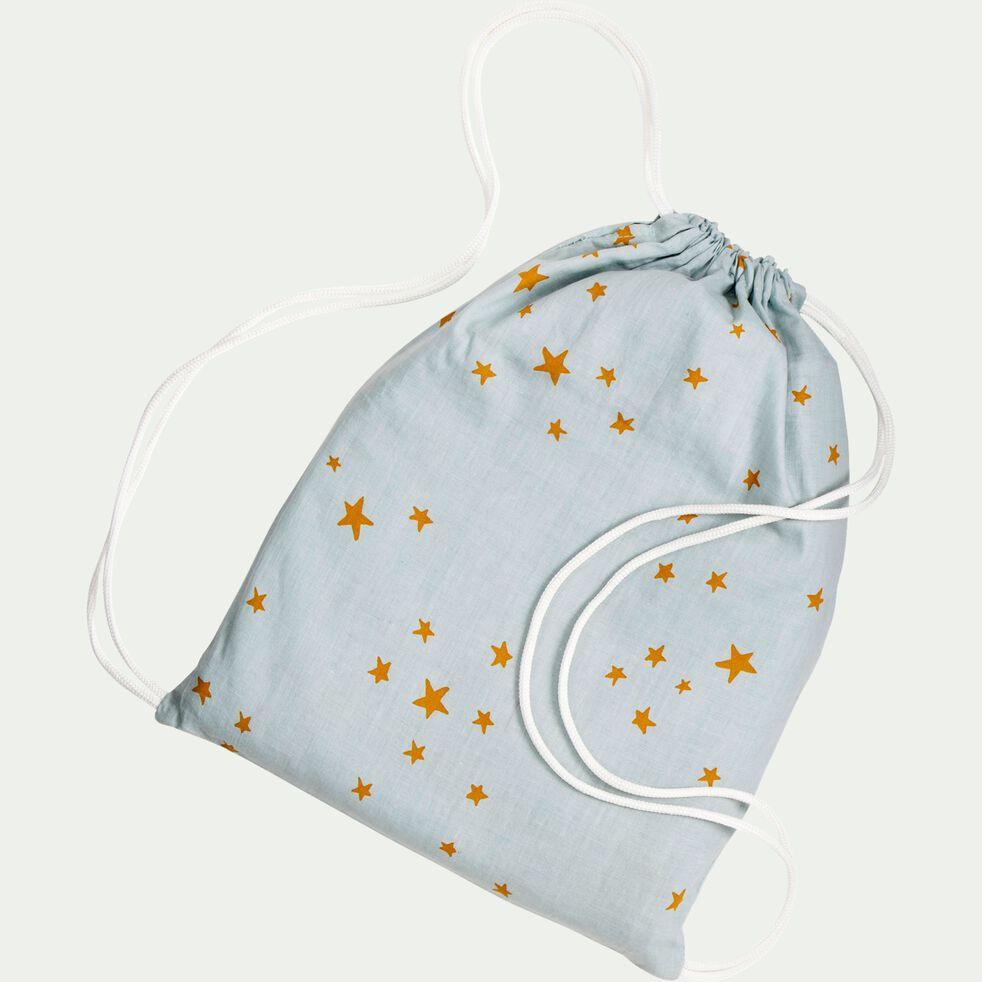 Housse de couette enfant motifs étoiles argan 140x200cm et une taie d'oreiller 63x63cm - bleu argent-Goia