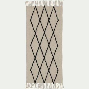 Tapis kilim à motifs - écru et noir 60X120cm-FADILA