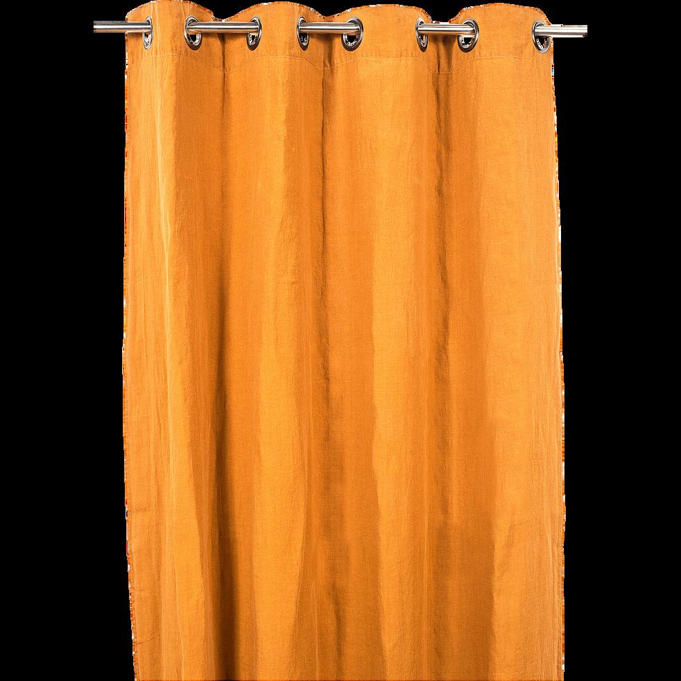Rideau à œillets en lin lavé coloris abricot 140x280cm-ST TROPEZ