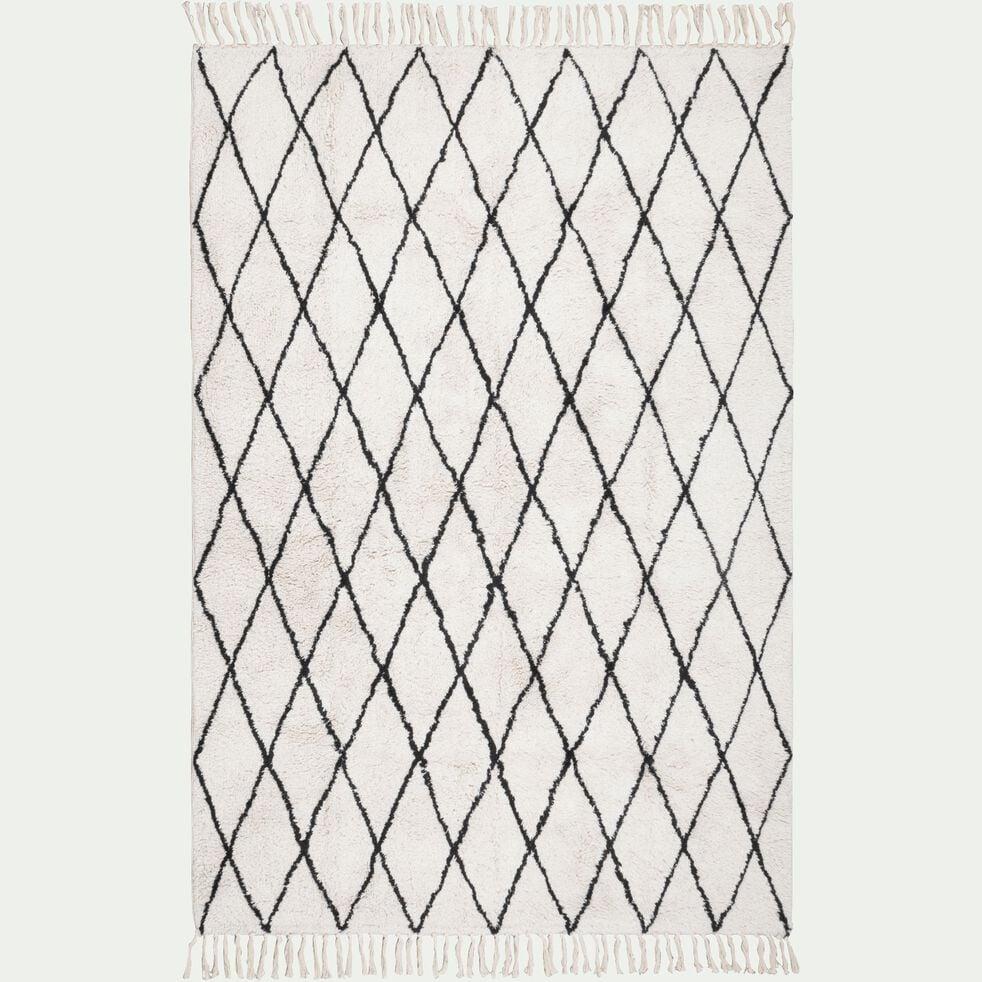 Tapis en coton inspiration berbère - écru 160x230cm-TRIPOLI