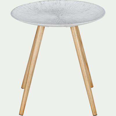 Bout de canapé blanc avec pieds en pin-ROUSICA