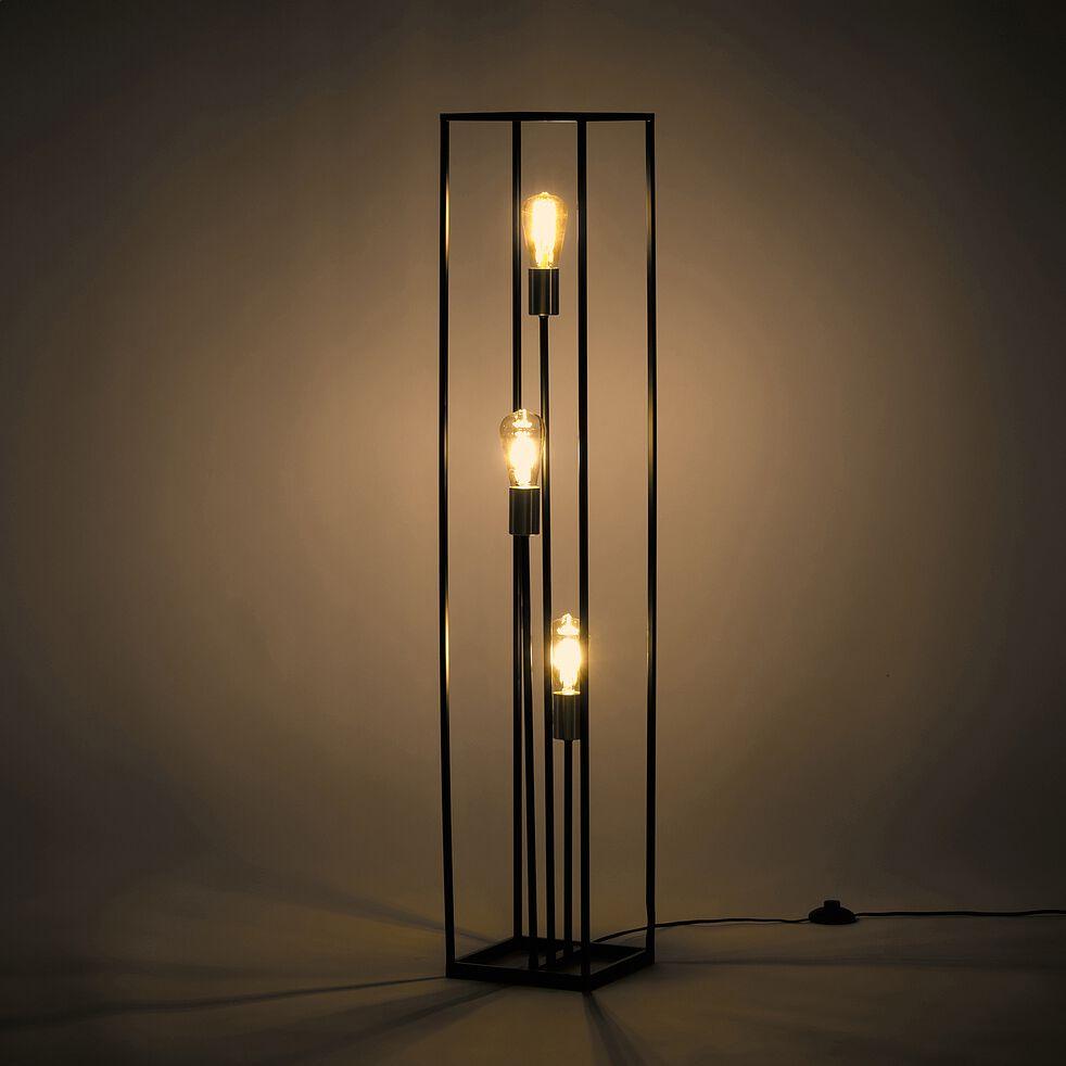 Lampadaire 3 lampes en métal - noir et or mat H120cm-ROBIN