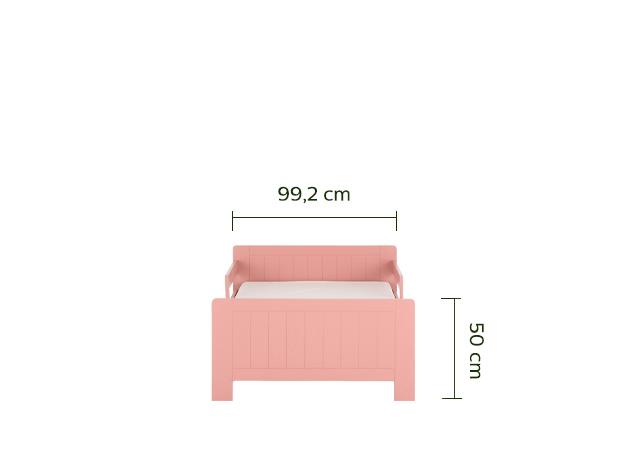 lit 1 place évolutif rose en pin 3 positions pour enfant-POLLUX