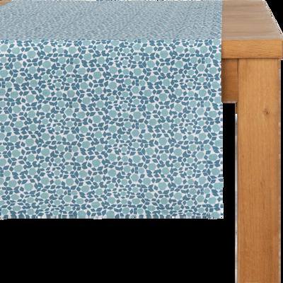 Chemin de table en lin et coton bleu 50x150cm-ZELLIGES
