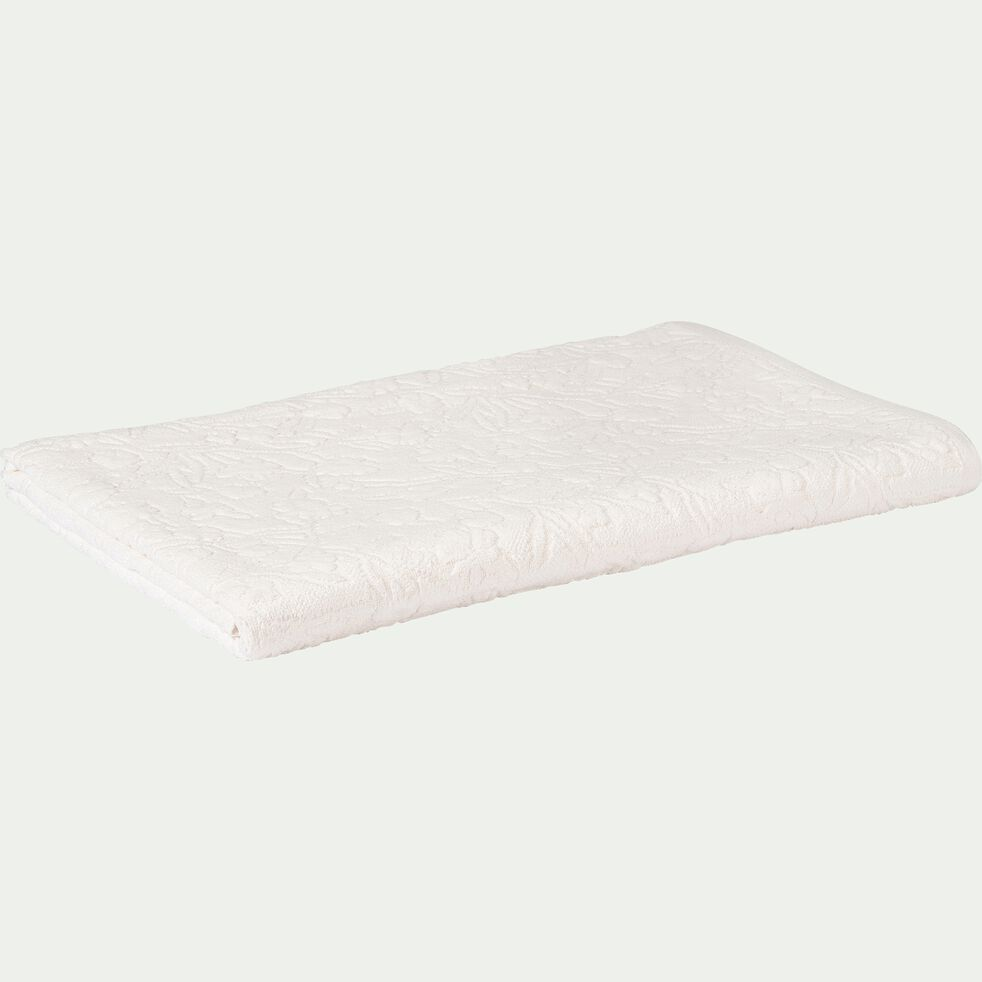 Drap de bain tissé plat en coton brodé - blanc nougat 100x150cm-DANGWA
