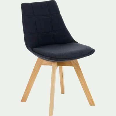 Chaise gris anthracite avec piètement en bois-JOY